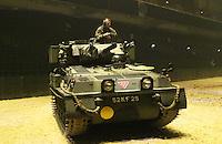 CVRT Scorpion and Scimitar light reconnaissance tanks, British Military Tournament Dress Rehearsal, Earls Court, London UK, 06 December 2013, Photo by Richard Goldschmidt