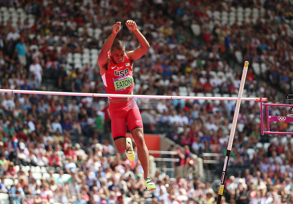Ashton Eaton of the USA competes in the high jump portion of the decathlon during track and field at the Olympic Stadium during day 13 of the London Olympic Games in London, England, United Kingdom on August 9, 2012..(Jed Jacobsohn/for The New York Times)..