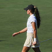 Wake Forest's Erica Herr walks to the green Sunday October 26, 2014 during the 13th annual Landfall Tradition in Wilmington, N.C. (Jason A. Frizzelle)