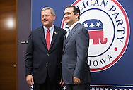 DES MOINES, IA - OCTOBER 25, 2013: Congressman Tom Latham, Republican of Iowa's 3rd District, poses for a picture with Senator Ted Cruz, Republican of Texas, before the start of the Iowa GOP Ronald Reagan Dinner at the Iowa Events Center - Community Choice Credit Union Convention Center in Des Moines, Iowa.