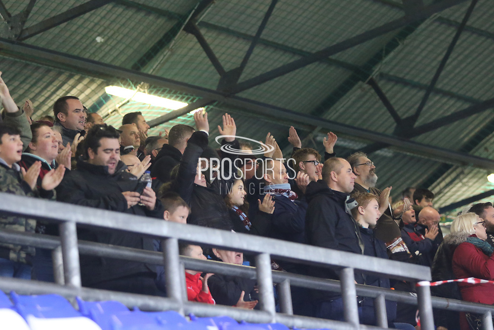 Scunthorpe fans celebrate the first goal during the EFL Sky Bet League 1 match between Oldham Athletic and Scunthorpe United at Boundary Park, Oldham, England on 28 October 2017. Photo by George Franks.