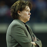 Delaware Women's Head Coach Tina Martin stares at the official in the second half of an NCAA college basketball game against George Mason Thursday, Feb. 23, 2012, at the Bob Carpenter Center in Newark, Del. (AP Photo/Saquan Stimpson)