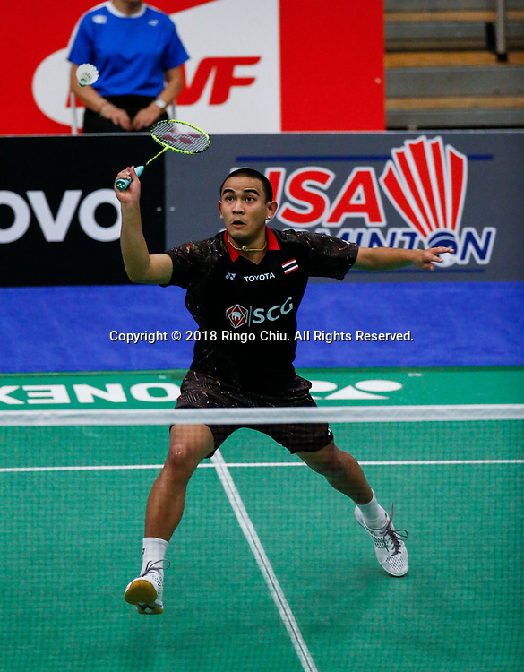Khosit Phetpradab of Thailand, competes against Lee Dong Keun of Korea, during the men's singles semi final match at the U.S. Open Badminton Championships on Saturday, June 16, 2018 in Fullerton, California.  Lee won 2-1 advance to final. (Photo by Ringo Chiu)<br /> <br /> Usage Notes: This content is intended for editorial use only. For other uses, additional clearances may be required.