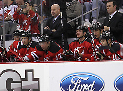Oct 8; Newark, NJ, USA; New Jersey Devils head coach John MacLean during the first period at the Prudential Center.