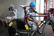 Tejay Van Garderen and Tom Danielson just minutes away from starting stage 9's TT.