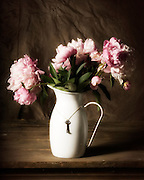 Still life pink peonies in white metal vase