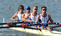 20040815 Olympic Games Athens Greece [Rowing]<br />  Schinias Photo  Peter Spurrier <br /> GBR LM4- Bow Mike hennersy, 2. Tim Male, 3. Nick English and Mark Hunter.