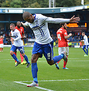 Bury Striker Leon Clarke celebrates his spot kick goal during the Sky Bet League 1 match between Bury and Coventry City at Gigg Lane, Bury, England on 26 September 2015. Photo by Mark Pollitt.