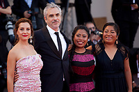Actress Marina de Tavira, director Alfonso Cuaron, actress Yalitza Aparicio and actress Nancy Garcia at the premiere gala screening of the film Roma at the 75th Venice Film Festival, Sala Grande on Thursday 30th August 2018, Venice Lido, Italy.