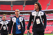 AFC Wimbledon defender Will Nightingale (5), AFC Wimbledon attacker Egli Kaja (21) and AFC Wimbledon midfielder Dean Parrett (18) walking off the pitch during the The FA Cup 3rd round match between Tottenham Hotspur and AFC Wimbledon at Wembley Stadium, London, England on 7 January 2018. Photo by Matthew Redman.