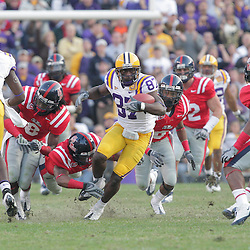 22 November 2008: LSU wide receiver Jared Mitchell (87) runs after a catch as a host of Ole Miss defenders pursue during the Ole Miss Rebels 31-13 victory over the LSU Tigers at Tiger Stadium in Baton Rouge, LA.
