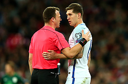 John Stones of England is spoken to by the referee - Mandatory by-line: Robbie Stephenson/JMP - 05/10/2017 - FOOTBALL - Wembley Stadium - London, United Kingdom - England v Slovenia - World Cup qualifier