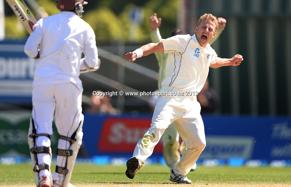 Neil Wagner celebrates trapping Shivnarine Chanderpaul LBW on Day 4 of the 1st cricket test match of the ANZ Test Series. New Zealand Black Caps v West Indies at University Oval in Dunedin. Friday 6 December 2013. Photo: Andrew Cornaga/www.Photosport.co.nz