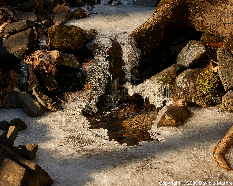 Frozen small waterfall at the Sourland Mountain Preserve. Winter Nature in New Jersey. Image taken with a Nikon D3x camera and 80-400 mm VR lens.
