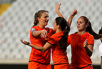 Fifa Womans World Cup Canada 2015 - Preview //<br /> Cyprus Cup 2015 Tournament ( Gsp Stadium Nicosia - Cyprus ) - <br /> Netherlands vs England 1-1   //  Anna Miedema of Netherlands (L) , celebrates with team mates Danielle van de Donk and Lieke Martens after his Goal (1-0)