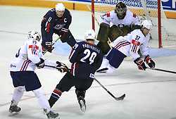 Goalkeeper Robert Kristan, Mitja Robar (37) and Egon Muric (15) of Slovenia vs Jason Pominville (29) and Jeff Halpern (11) of USA at ice-hockey match USA vs Slovenia at Preliminary Round (group B) of IIHF WC 2008 in Halifax, on May 04, 2008 in Metro Center, Halifax, Nova Scotia, Canada. (Photo by Vid Ponikvar / Sportal Images)