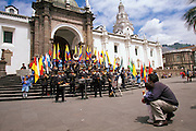 ECUADOR, QUITO, LIFE STYLE Plaza de Independencia; the heart of the Old Colonial Center, with a band concert in front of the Cathedral