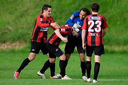 Mark Bozic,  Saso Ogric, Dejan Milic and Simon Zivec of Primorje celebrate after Ogric scored a goal in last minute at football match between NK Primorje Ajdovscina and NK Triglav Gorenjska of Second Slovenian football league, on May 16, 2010 in Vipava, Slovenia. Primorje placed first in 2.SNL and qualified for  PrvaLiga in season 2010/2011. (Photo by Urban Urbanc / Sportida)