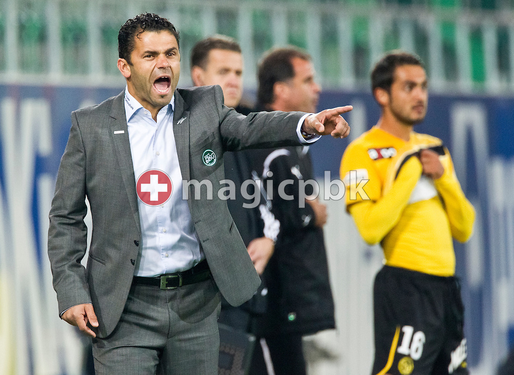 FC St.Gallen headcoach Ulrich (Uli) Forte gestures during the Super League (National League A) soccer match between FC St. Gallen (FCSG) and BSC Young Boys (YB) at the AFG arena in St.Gallen, Switzerland, Wednesday, September 22, 2010. (Photo by Patrick B. Kraemer / MAGICPBK)