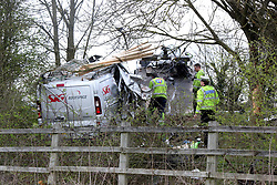 Beaconsfield, Buckinghamshire Thursday 30th March 2017GV showing scene on Wednesday 29th March    Two People have sadly died following a fatal collision on the Busy M40  near Loudwater this afternoon. Emergency services rushed to the scene after a roofing van belonging to SIG Roofspace. It is understood that the driver and the passenger where both killed in the tragic collision. Police closed the M40 for a number of hours whilst specialists carried out accident and Collision scene investigation work on thr three lane section of the M40. It is understood that the Van hit a tree and caught fire.  The closure was extended to J2 (Beaconsfield) and congestion was building to before J2, causing major delays on surrounding routes. <br /> <br /> Two men have died in a collision which closed the M40 motorway yesterday afternoon.<br /> <br /> The men, who are both from Warwickshire, died after a silver Renault van they were travelling in came off the motorway between junction 3 at Beaconsfield and junction 4 with the A404 at Marlow.<br /> <br /> <br /> Police say the van came off the northbound carriageway and hit trees.<br /> <br /> The emergency services were called at around 3.45pm on Wednesday, March 29 and the men, aged 22 and 31, were declared dead at the scene.<br /> <br /> Two other men were taken to hospital with minor injuries.<br /> <br /> Police were able open two lanes of the motorway at around 6pm.Officers say no other vehicles are involved and are appealing for witnesses to come forward.<br /> <br /> Investigating officer PC Richard Martin of Thames Valley Police Roads Policing said: &quot;Our thoughts are with the families and friends of the two men who died today.