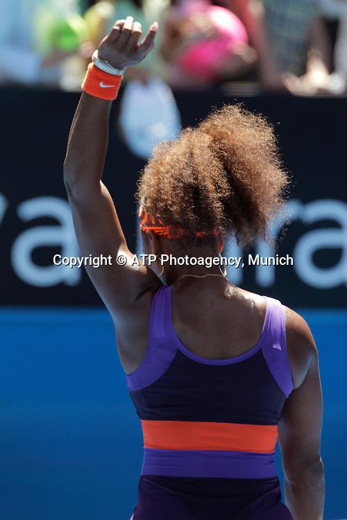 Australian Open Tennis 2013. Melbourne. Australia.Saturday 19.1.2013.<br /> Serena WILLIAMS (Usa) defeated Ayumi MORITA (Jpn). <br /> &copy; ATP /  Damir IVKA<br /> - Australian Open 2013 Melbourne - Rod Laver Arena - WOMEN - Australien - AUSTRALIE - copyright &copy; ATP Damir IVKA