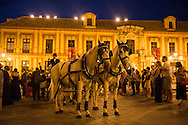 A crowd gathers around a horse and carriage outside Seville Cathedral, waiting for the bride and groom to exit the church and ride away. Seville, Spain
