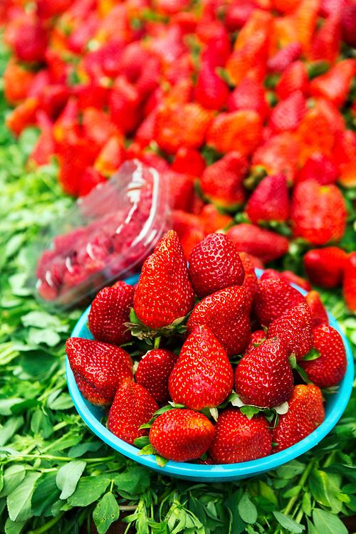 Fruit and veg stand, Mellah, Marrakesh Medina, Morocco, 2018–02-26.