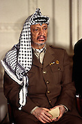 PLO leader Yasser Arafat looks on at a White House news conference October 2, 1996 In Washington, DC.
