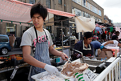 UK ENGLAND LONDON 9SEP16 - Street food vendor Lin Xindiod (25) of China at his stall near Brick Lane, Shoreditch, east London.<br /> <br /> jre/Photo by Jiri Rezac<br /> <br /> © Jiri Rezac 2016
