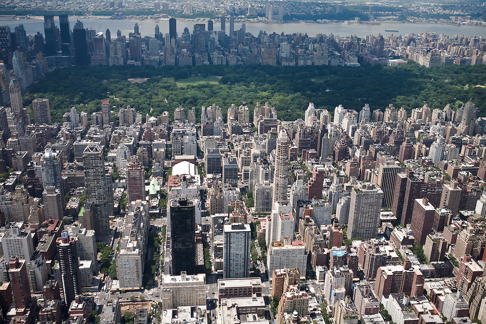 On a per-capita basis, New York is the greenest city in the country: Its residents own fewer cars, use public transportation, walk more, and inhabit smaller living spaces that share common walls.  Looking from the East Side toward the Hudson River, Central Park offers an important refuge from the dense urban environment and fast pace of city life.  The park has 25 million visitors each year.