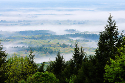 Valley fog as seen from Mount Tom in Holyoke, Massachusetts.  Connecticut River Valley. New England Trail