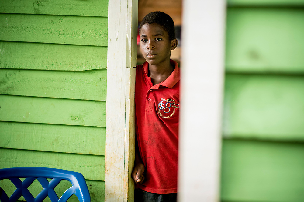 July 19, 2017, Boston, MA:<br /> A young boy looks on in El Mamon during the 2017 Lindos Sue&ntilde;os trip in the Dominican Republic Wednesday, July 19, 2017. <br /> (Photo by Billie Weiss/Boston Red Sox)