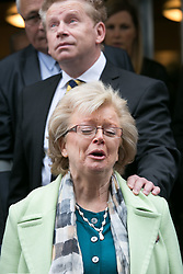 © Licensed to London News Pictures. 01/6/2016. Solihull, West Midlands, UK. Julie Hambleton looks to the heavens before breaking into tears after hearing the coronors verdict regarding the re-opening of the case of the Birmingham Pub Bombings in 1974.  Photo credit: Dave Warren/LNP