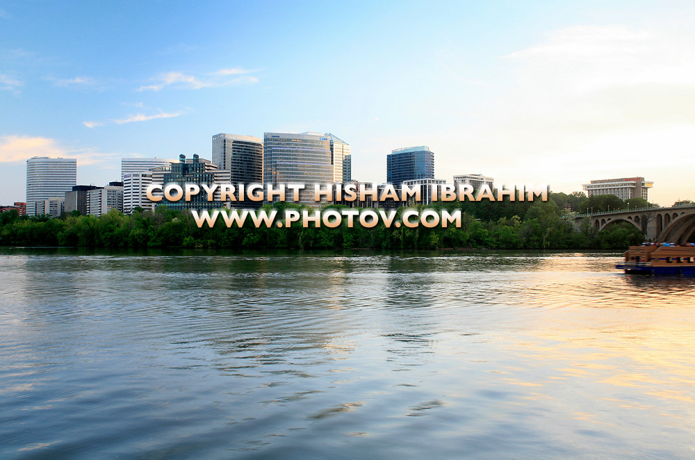The Skyline of Rosslyn in Arlington County and the Potomac River at dusk, Virginia, USA