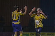 Accrington Stanley forward Billy Kee celebrates his  second goal during the Sky Bet League 2 match between York City and Accrington Stanley at Bootham Crescent, York, England on 28 November 2015. Photo by Simon Davies.