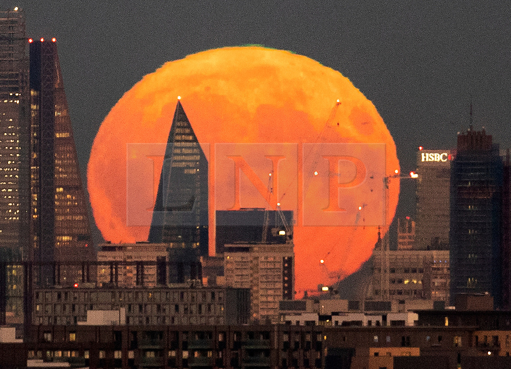 © Licensed to London News Pictures. 24/09/2018. London, UK. The near full Harvest moon passes behind The Scalpel building at Lime Street in The City of London as it rises. It is named the Harvest Moon as it is the nearest full moon to the autumnal equinox as the last of the harvest is brought in. This state of the moon, waxing gibbous, is 98. 7% of tomorrow's full moon. Photo credit: Peter Macdiarmid/LNP