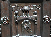 Detail from Bronze doors with scenes from the Old and New Testament in relief. Made at the order of St. Bernward, and set up by him in 1015 at St. Michael's Church, Hildesheim. They were since taken to the cathedral by his successor. This panel shows the Presentation of Eve to Adam.