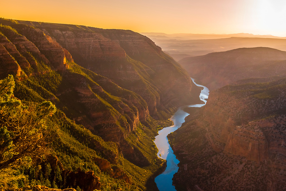 High angle view over the Green River from Harpers Corner, Dinosaur National Monument, Colorado USA.