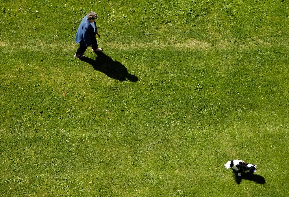 Nederland,  Maassluis, 29 augustus 2005.Vrouw laat de hond uit op grasveldje. Van hoog standpunt gefotografeerd. Hondenpoep. huisdieren...Foto (c) Michiel Wijnbergh