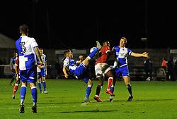 Kel Akpobire of Bristol City tussles with Luke Russe and Alfie Kilgour of Bristol Rovers - Mandatory by-line: Paul Knight/JMP - 16/11/2017 - FOOTBALL - Woodspring Stadium - Weston-super-Mare, England - Bristol City U23 v Bristol Rovers U23 - Central League Cup