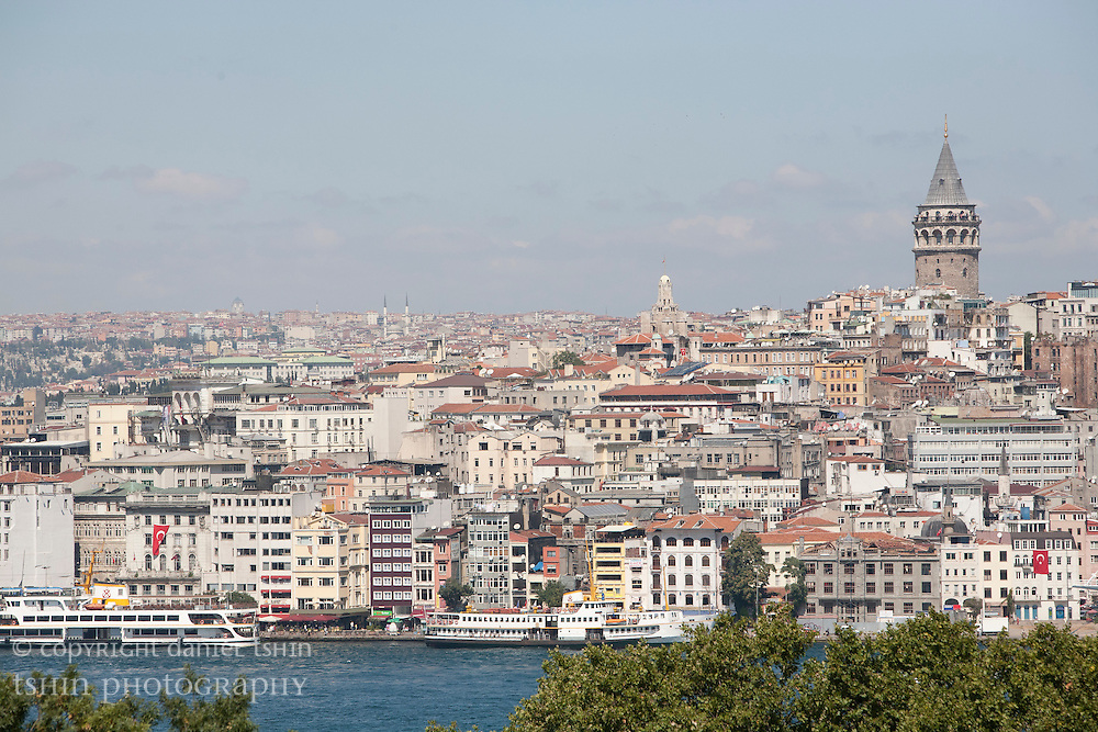 Galata Tower and its neighbourhood, as seen from the Topkapi Palace Museum