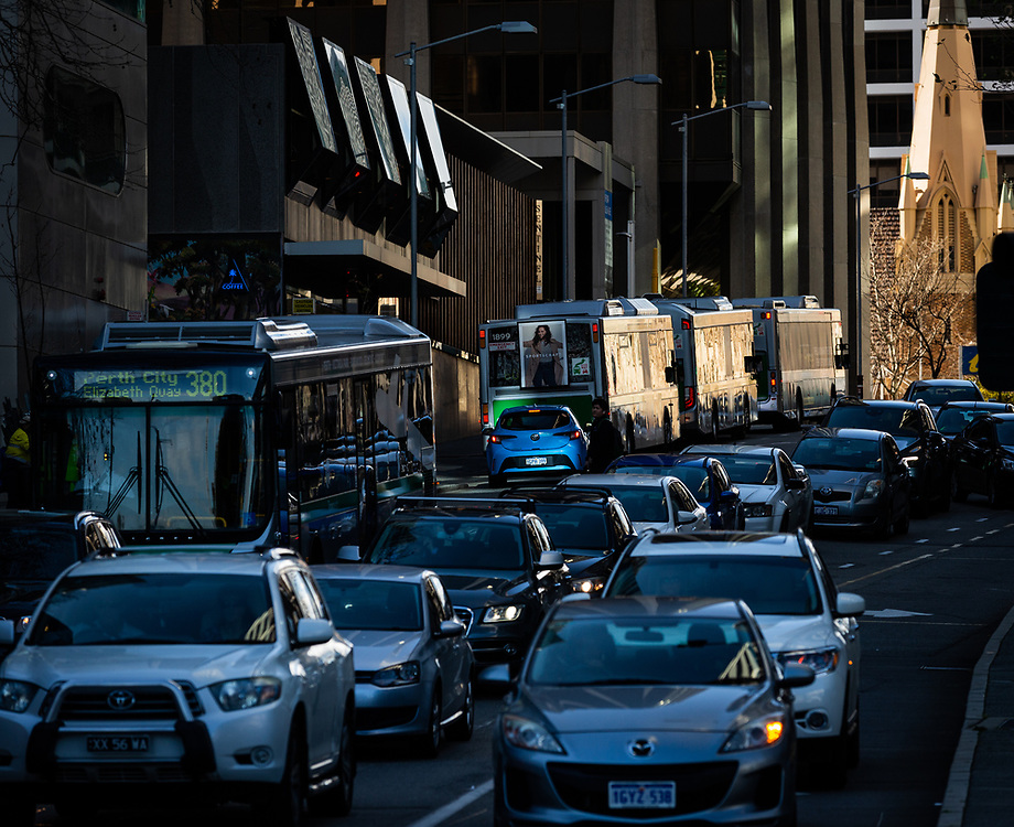 Traffic on William Street Perth,Western Australia Thursday August 20,2020.