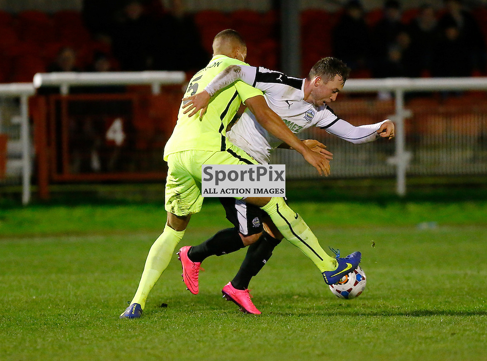 Dover's striker Ricky Miller (9) and Southports Josh Thompson. Dover Athletic against Southport FC in the FA Trophy. 16 January 2016. (c) Matt Bristow | SportPix.org.uk