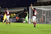 Cobblers David Buchanan appeals in vain for offside as MK Dons Nicky Maynard scores the equaliser during the The FA Cup match between Northampton Town and Milton Keynes Dons at Sixfields Stadium, Northampton, England on 9 January 2016. Photo by Dennis Goodwin.