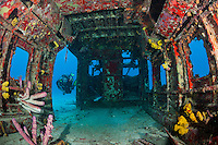 A diver inspects an Airplane Wreck....Shot in British Virgin Islands