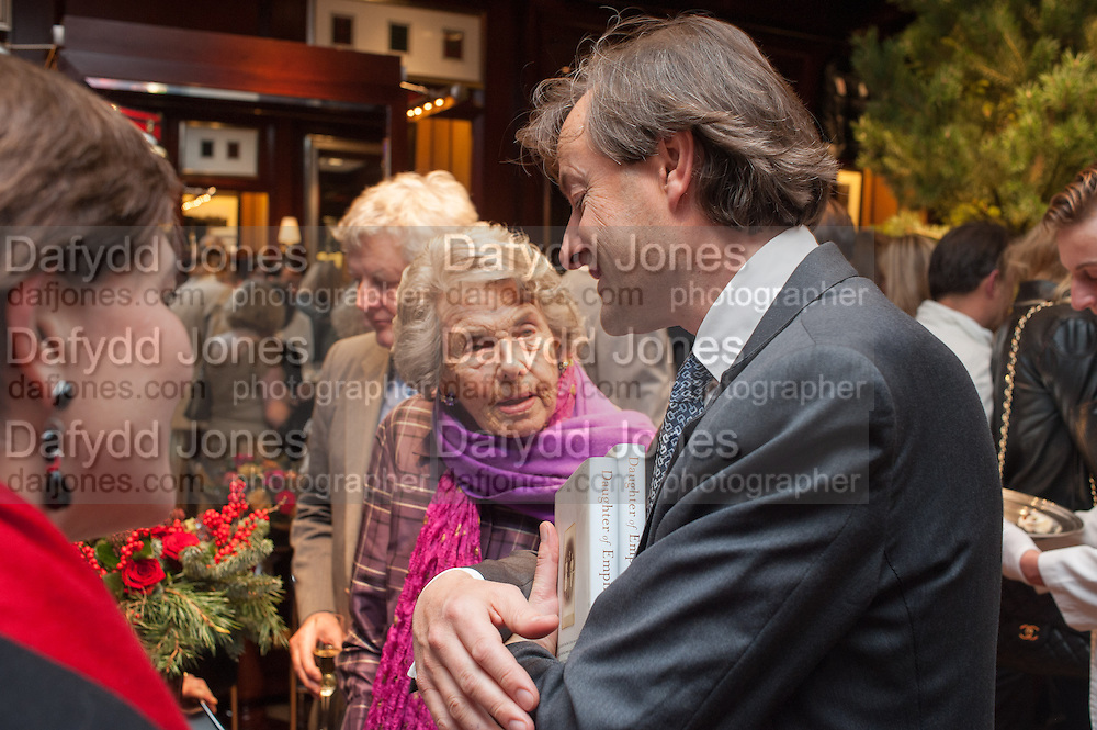 COUNTESS MOUNTBATTEN OF BURMA; TIMOTHY KNATCHBULL , Book launch for ' Daughter of Empire - Life as a Mountbatten' by Lady Pamela Hicks. Ralph Lauren, 1 New Bond St. London. 12 November 2012.