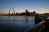St. Louis Skyline at Twilight with Mississippi River and Gateway Arch