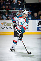 KELOWNA, CANADA - MARCH 7: Tyrell Goulbourne #12 of Kelowna Rockets warms up against the Spokane Chiefs on March 7, 2015 at Prospera Place in Kelowna, British Columbia, Canada.  (Photo by Marissa Baecker/Shoot the Breeze)  *** Local Caption *** Tyrell Goulbourne;