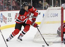 Feb 16; Newark, NJ, USA; New Jersey Devils center David Clarkson (23) skates with the puck during the second period of their game against the Carolina Hurricanes at the Prudential Center.