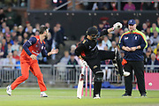 Leicestershire Foxes Harry Dearden gets out of the way of the ball hit back at him  during the Vitality T20 Blast North Group match between Lancashire Lightning and Leicestershire Foxes at the Emirates, Old Trafford, Manchester, United Kingdom on 30 August 2019.
